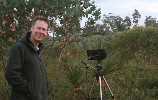 Andrew recording at the Stirling Range