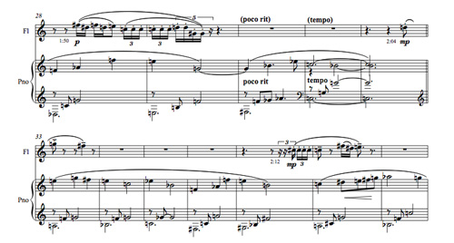 Part of the score for Saraband by Mark de Brito