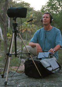 Andrew Skeoch recording with SASS microphone head