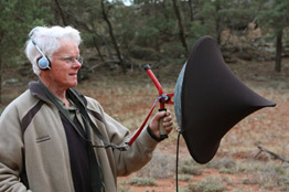 Howard Plowright with parabolic dish microphone